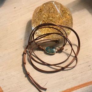 Copper Turquoise chakra wrap bracelet.